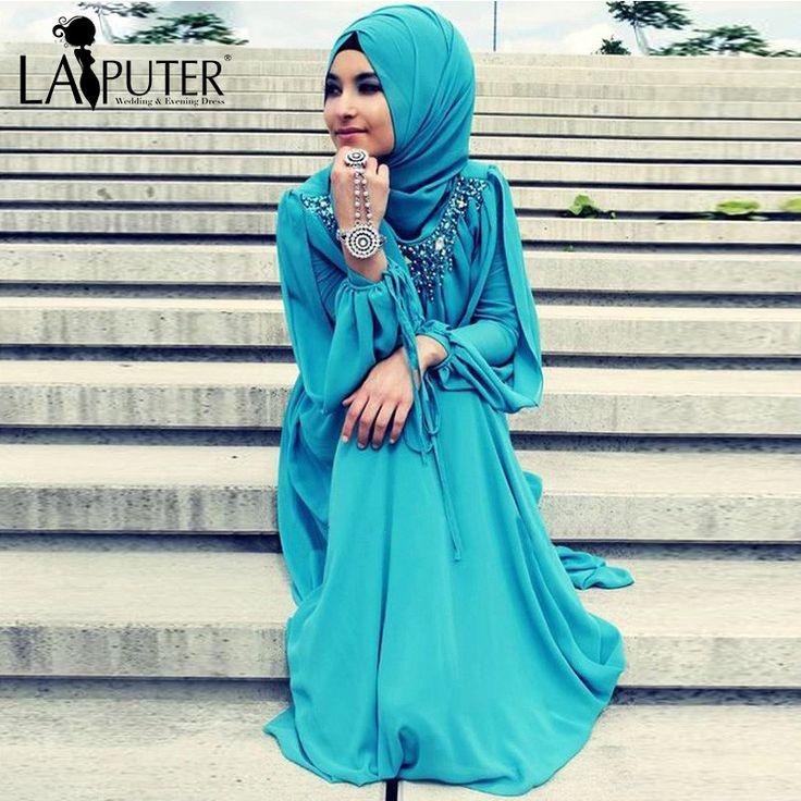 Vestito blu lungo digiuno