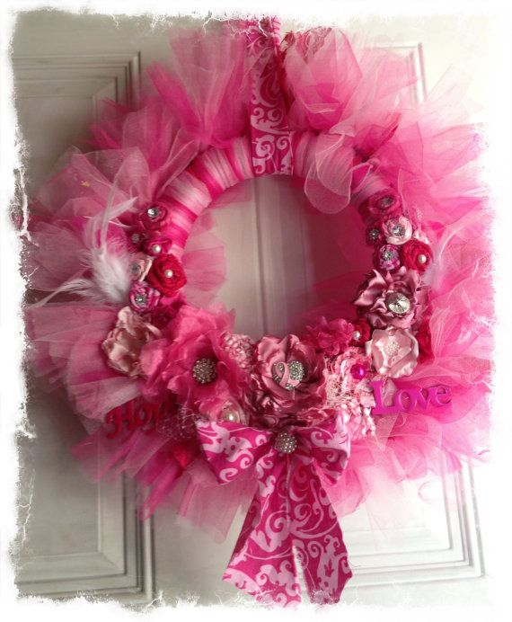 The JBO Hope Wreath- Breast Cancer Awareness Wreath - Shades of Pink Shabby Chic