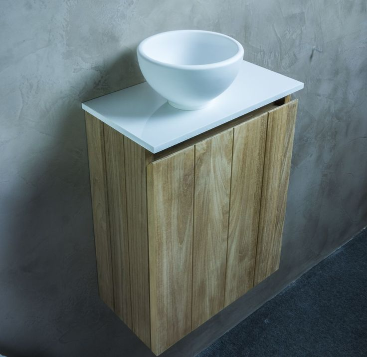 Teak toiletfontein met solid surface waskom   Sanicomfort4all B.V.