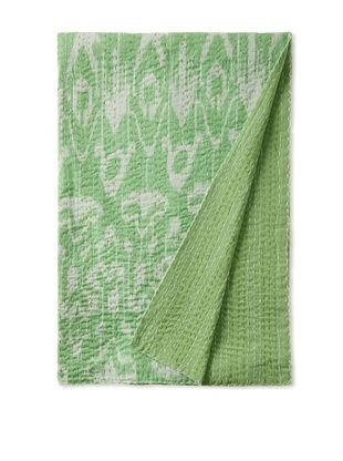 51% OFF Ikat Bed Cover (Green/White)