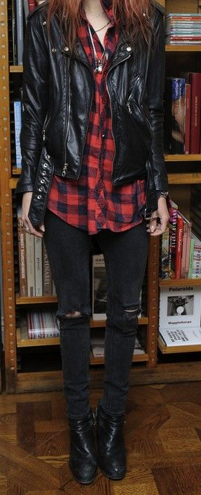 Leather jacket + red checked shirt + black skinny jeans + leather boots