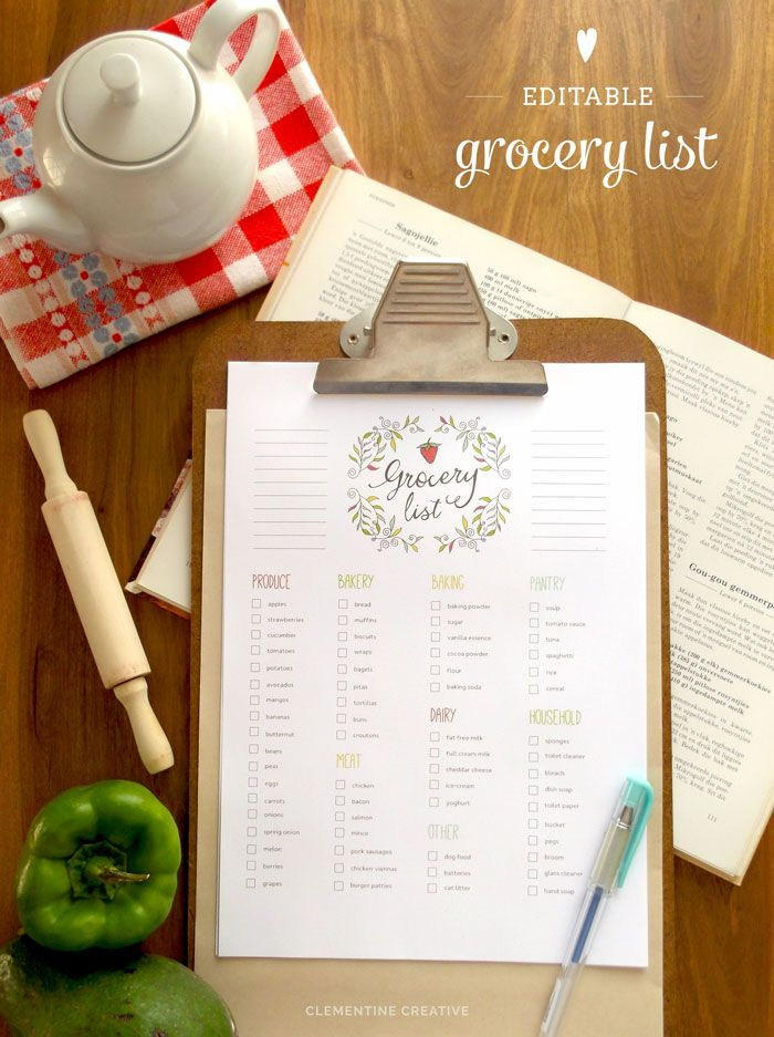 Customizable Grocery Shopping List