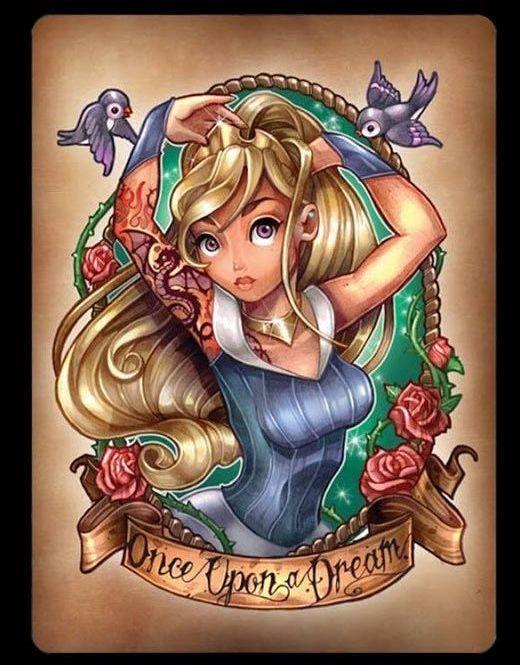 Disney Princess Tattoos Disney tattoo | alice in wonderland tattoo | cinderella tattoo |tattoo ideas | tattoo inspiration