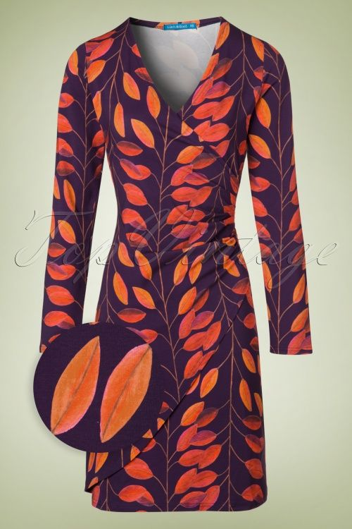 Lien & Giel - 60s Buenos Aires Leaves Dress in Purple