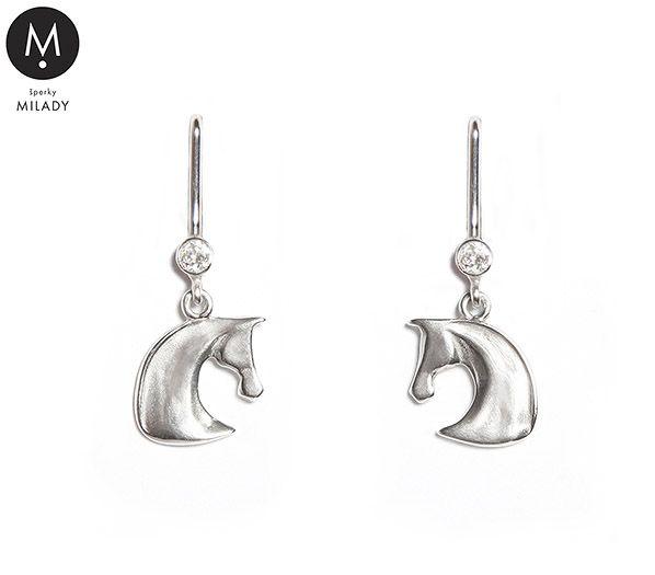 VŠECHNY ŠPERKY | Náušnice kůň Gill a přírodní kámen zirkon - křišťálově bílé | MILADY šperky, jezdecké a koně