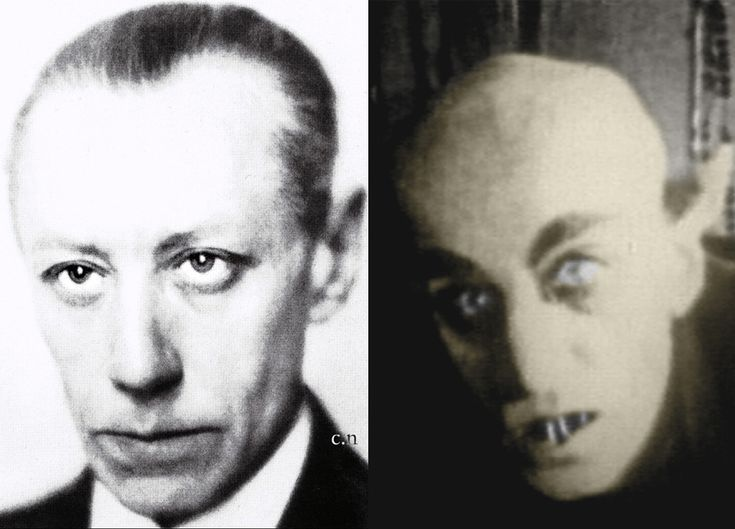"""Max Schreck, German actor (left) and made up as """"Count Orlok"""" (right) in the film, """"Nosferatu"""" in 1922."""