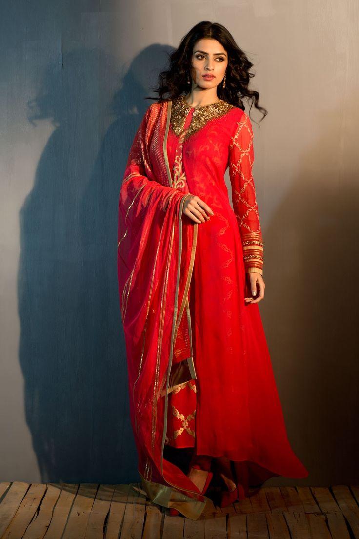 Gold Embroidered Salwar Kurti Dupatta - Churidar Kurta Sets - Ready to Wear