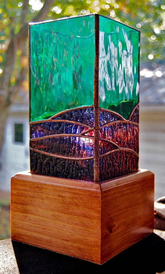 mountain landscape stained glass lamp