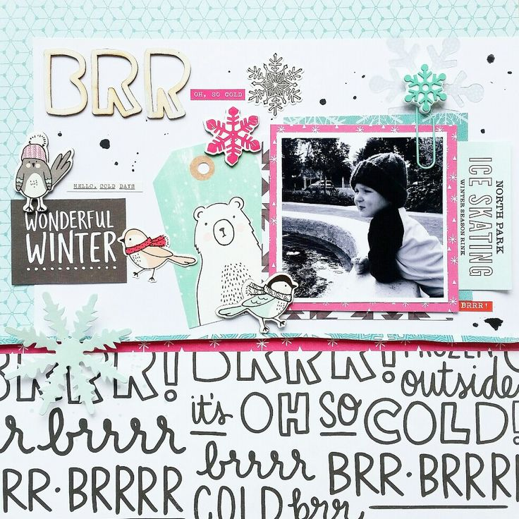 "Paper Issues : New Issue : Going Cold Turkey in Snow-vember: ""BRR"" layout by Amanda Baldwin featuring Crate Paper Snow and Cocoa collection"