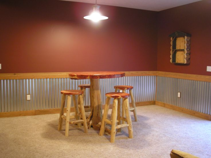 Interior log siding log home interior walls interior designs - Basement Bar Basement Pinterest Tins Tin On Walls
