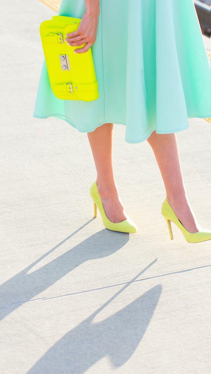 Pastel lover   Green   Skirt & High heels