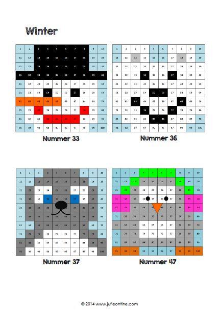 Werkblad rekenen: Honderdtabellen winter: sneeuwpop, ijsbeer, zeehond en pinguïn. Leuk als extra werkblad voor kinderen die snel klaar zijn met rekenen, voor in de weektaak of gewoon zomaar.