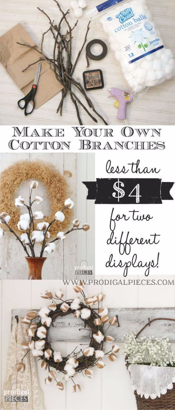 Best Country Decor Ideas - DIY Cotton Branches - Rustic Farmhouse Decor Tutorials and Easy Vintage Shabby Chic Home Decor for Kitchen, Living Room and Bathroom - Creative Country Crafts, Rustic Wall Art and Accessories to Make and Sell http://diyjoy.com/country-decor-ideas #shabbychicaccessories #shabbychickitchencountry #diydecorating