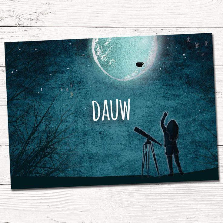 Geboortekaartje op maat Dauw in maanlicht met sterren  | illustratie | babykaartjes | design | indie | maan | kind | sfeervol