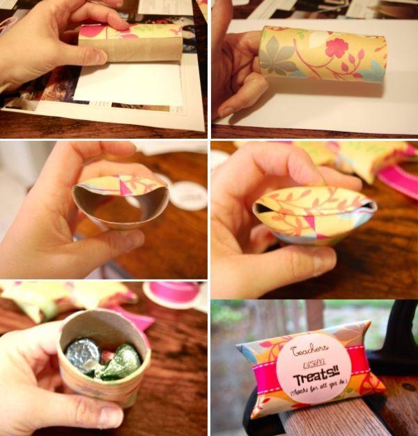 Lembrancinhas feitas com rolo de papel higiênico