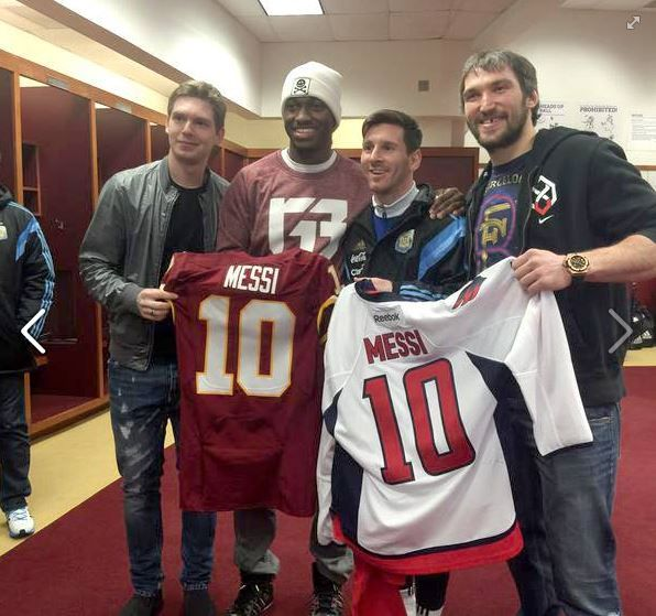 Check this TBT out! #Redskins QB Robert Griffin III with @washingtoncaps LW Alex Ovechkin/C Evgeny Kuznetsov and @fcbarcelona/Argentina legend Lionel Messi!