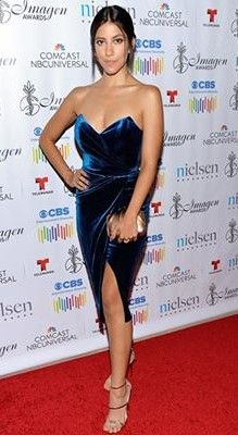 Actress Stephanie Beatriz in a CRISTALLINI cocktail dress at the 2016 Imagen Awards. CRISTALLINI #CocktailDress #VelvetDress #RedCarpet