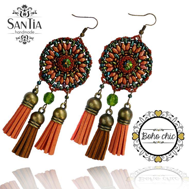 Oranžovo-zelené náušnice so strapcami :http://santiahandmade.com/produkt/oranzovo-zelene-nausnice-so-strapcami/
