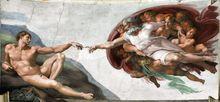 La création d'Adam, détail du plafond de la Chapelle Sixtine, au Vatican, par le peintre Michel-Ange, vers 1510, /