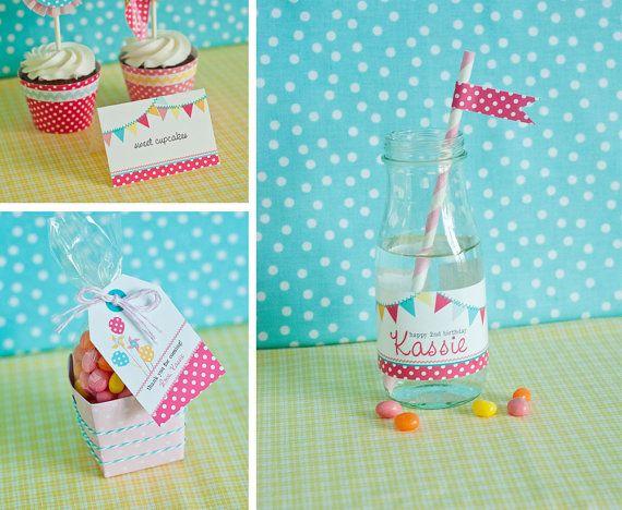 Pinwheels Pennants and Polka Dots Birthday  by arpartyprintables, $45.00