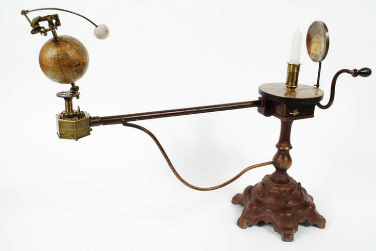 Antique mechanical orrery with brass mechanism and gears, signed N. Selander Stockholm end XIX century. Papier maché sphere and coated cast iron base. Very good condition and in order. Measures cm 66x42 - inches 25.98x16.53.