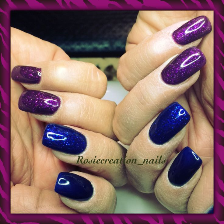 Blue , purple gel nails ... When don't know what to choose do both lol