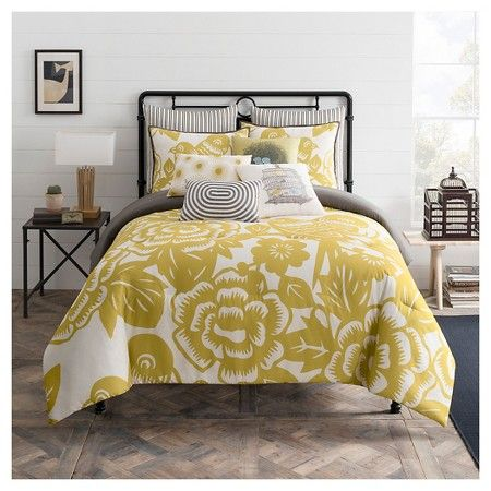 $54 Seedling by ThomasPaul® Aviary Floral Print Comforter Set Mustard Yellow Full/Queen - 3pc : Target
