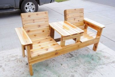 Homemade Double Chair Bench with Table DIY Project The Homestead Survival - Homesteading - DIY Project