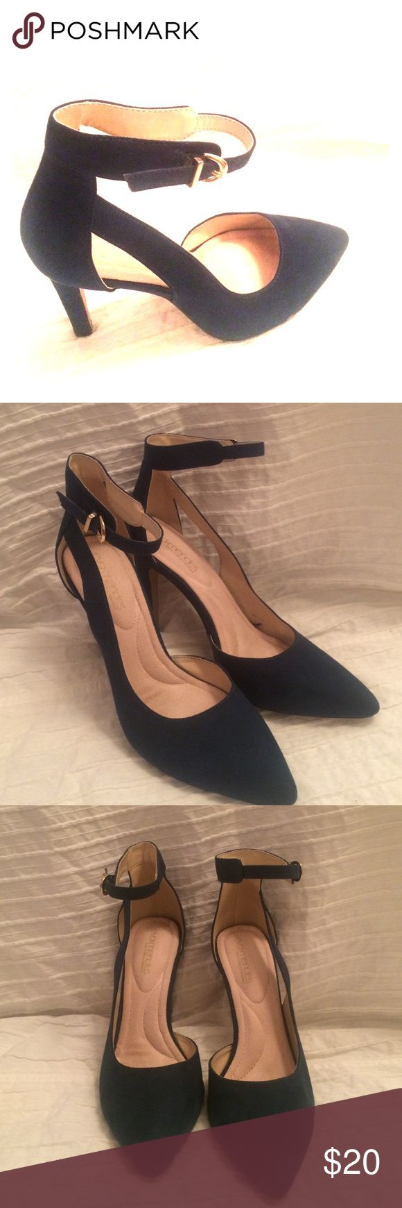 Heels Beautiful high heel ankle strap shoes. Faux suede. Like new. eva mendes  Shoes Heels
