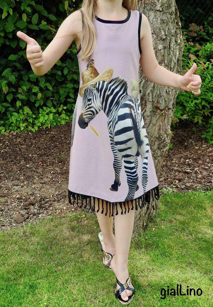 Zebrafant, freebook, Tanktop Kleid mit Fransensaum, Elefante meets Zebra