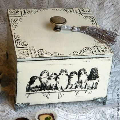 Короб для хранения декупаж, французский винтаж, монохром, черно-белый, птички, ящик, короб для кухни, купить короб в подарок, купить в москве, декупаж работы