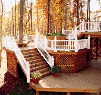 deck levels to go down the steep wooded slope of our back yard..hmm..