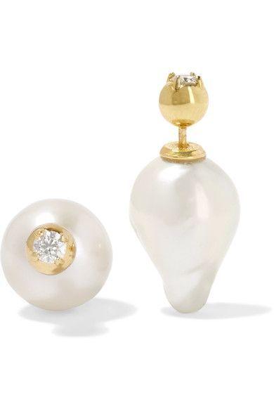Mizuki - 14-karat Gold, Pearl And Diamond Earrings - one size