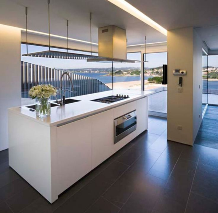 Furniture, Appealing White Kitchen Island With Pull Down Kitchen Faucet And Cooktop Island Kitchen Hood Black Tile Flooring Square Pendant Lamp Built In Microwave In Island Modern L Shaped Glass Door: Awesome New Kitchen Island Ideas