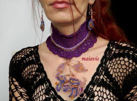 women fashion jewelry copper crochet necklace