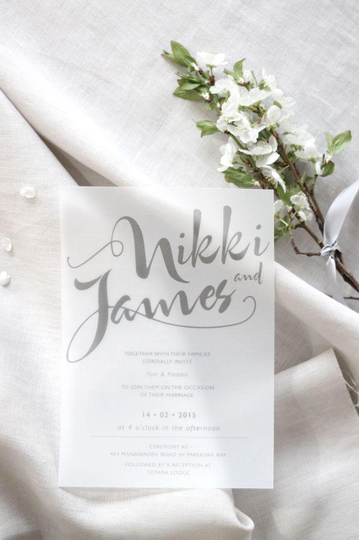 Wedding Invitation and Wedding Stationery Design by Just My Type NZ} White and Grey modern wedding