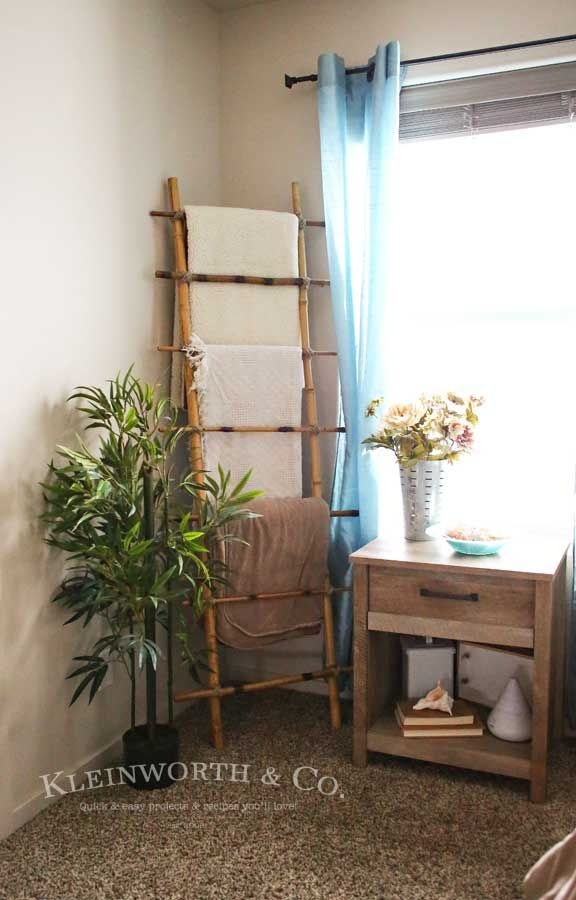 how to make a bamboo blanket ladder