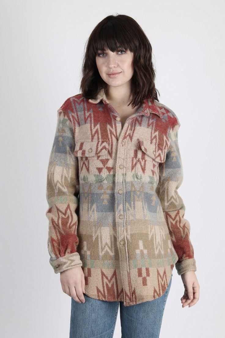 Vintage Polo Ralph Lauren Shirt Southwestern Blanket Jacket Ethnic Wool Coat L