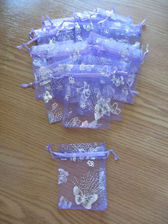 Butterfly  Purple Organza Wedding Gift Bags & by UndergroundSkunk, $5.00