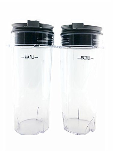 Sduck Replacement Parts for Nutri Ninja, Two Pack 16 oz. Cups and Sip with Seal Lids Fit for Ultima & Professional Nutri Ninja Series BL770…