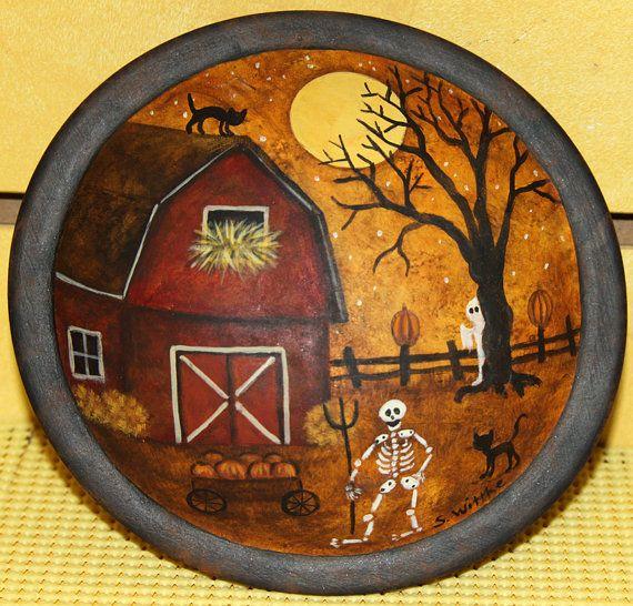 Halloween Folk Art Hand Painted Wood Bowl by RavensBendFolkArt