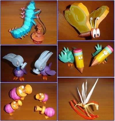 Bread and butterfly, Hammer bird, Horn duck, Rocking horsefly, Mirror bird and finally Pencil bird