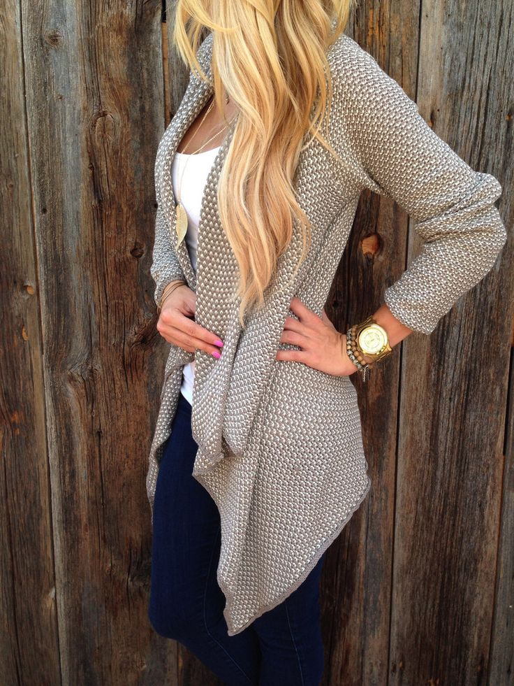 Cardigans. Love them. This one is great! That waffle-like texture is so comforting and the color is perfect.