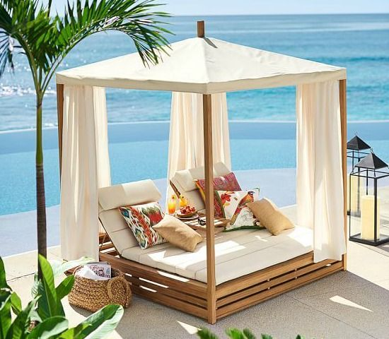 Bring resort style to your backyard or pool with a Lounge Cabana! http://beachblissliving.com/bring-a-beach-cabana-to-the-backyard-for-the-ultimate-lounging-experience/
