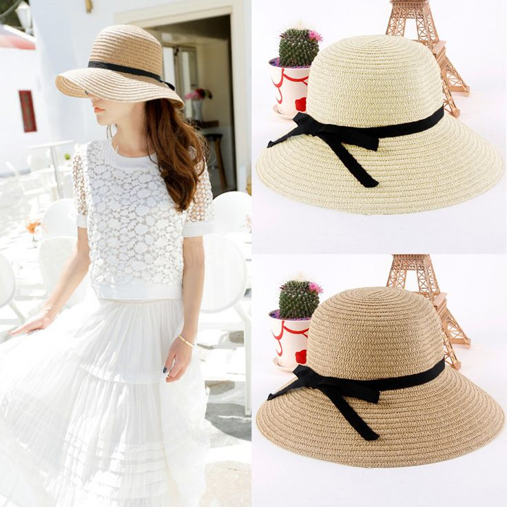 Fashion Women Sun Hat Straw Hat Wide Brim Summer Beach Headwear