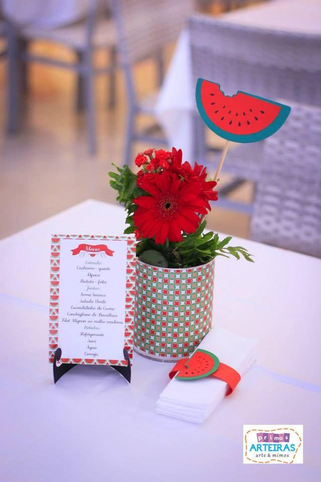 Centro de mesa no tema melancia
