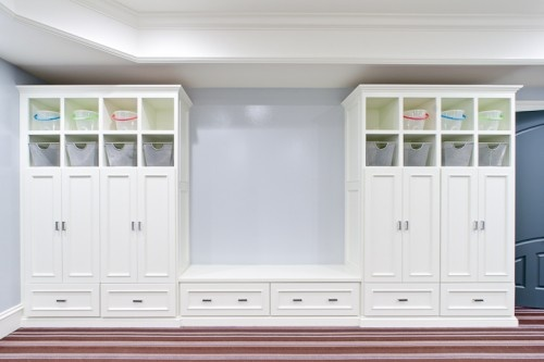 Like this to build in garage....that way coats, shoes, etc can stay out of laundry room.