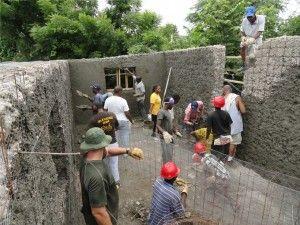 rubble gabion house in Haiti