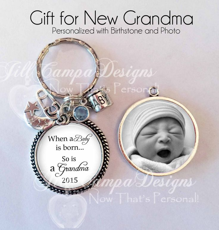 "New Grandma Keychain - double sided - ""When a baby is born so is a grandma"" - gift for new Grandma - baby photo key chain, birthstone ♥ Makes such a great gif"