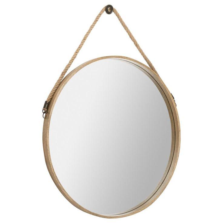 Miroir rond cadre bois for Miroir rond bois